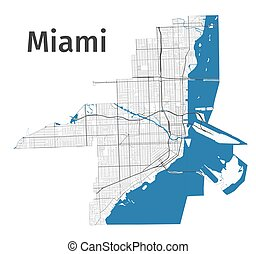Miami map. Detailed map of Miami city administrative area. Cityscape panorama.
