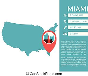 Miami map infographic vector  illustration