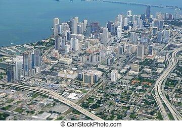 miami, miasto, śródmieście, antenowy prospekt, błękitny, morze