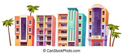 miami, moderno, hoteles, tiempo verano, edificios