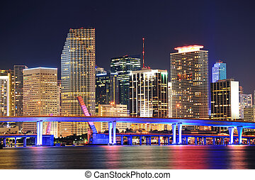 Miami night scene - Miami city skyline closeup at dusk with ...