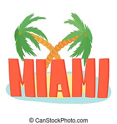 Miami palm logo, cartoon style