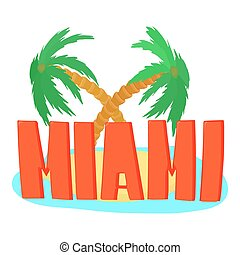 Miami palm logo, cartoon style