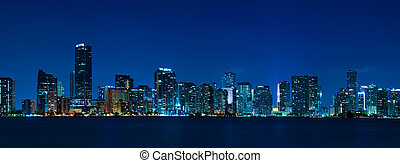 miami, panoráma, městská silueta, večer