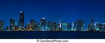 miami, panorama, skyline, nacht