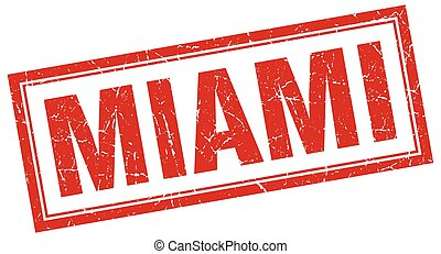 Miami red square grunge stamp on white