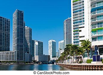 Miami River Condos - Condominium apartments over the Miami...