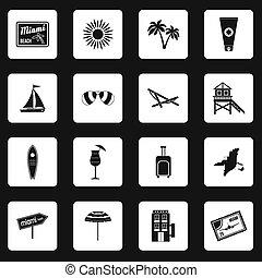 miami, set, stile, icone semplici