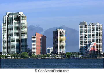 View of Miami skyline with offices and appartments