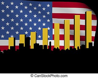 Miami skyline and graph over flag