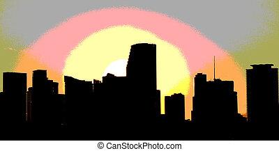 Miami skyline at dusk