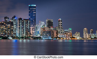 Miami Skyline at Night Across Biscayne Bay
