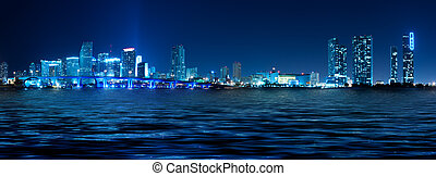Miami Skyline at night - Miami skyline at night with...