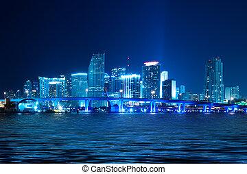 Miami Skyline at night - Miami skyline at night with...