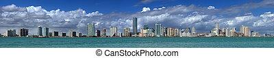 Miami Skyline - extreme panorama view at the Miami skyline