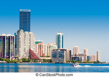 Miami Skyline - Miami skyline view from Key Biscayne