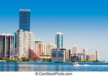Miami Skyline - Miami skyline view from Key Biscayne
