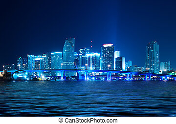 miami skyline, nacht