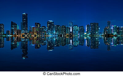 Miami skyline night panorama