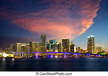Miami skyline - Downtown Miami skyline at dusk, Florida, US