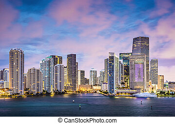 Miami Skyline - Skyline of Miami, Florida, USA at Brickell...