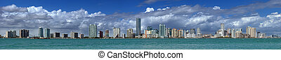 Miami Skyline - extreme panorama view at the Miami skyline