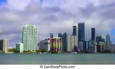 Miami Skyline tilt shift Florida city and ocean view