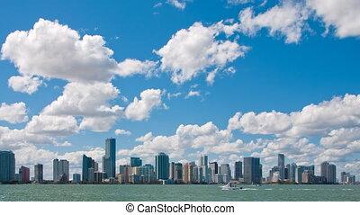 Miami skyline time lapse zoom