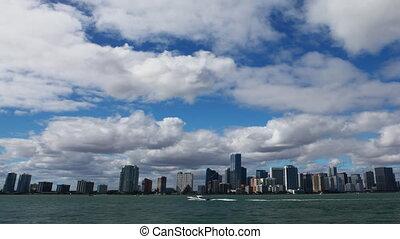 Miami skyline view, a timelapse