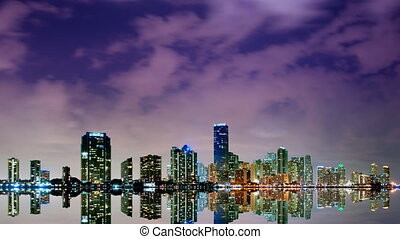Miami skyline vivid time lapse
