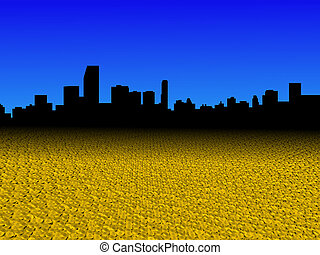 Miami skyline with golden dollar coins foreground illustration
