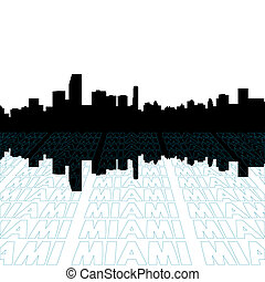 Miami skyline with perspective text outline foreground