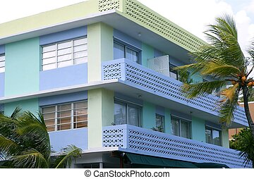 Miami South Beach Art Deco district with colorful buildings...