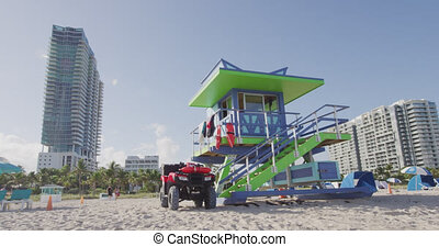 Miami South Beach Florida, lifeguard tower house in typical...