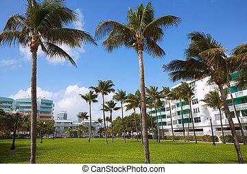Miami south Beach palm trees park Florida