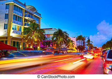 Miami South Beach sunset Ocean Drive Florida - Miami Beach...