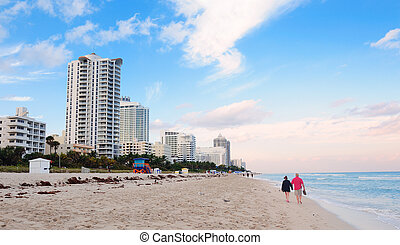 Miami South Beach with blue sky and hotels
