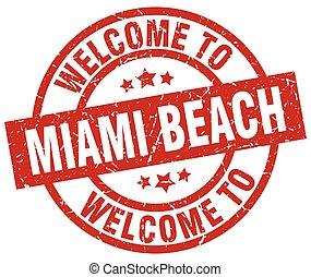 miami, stämpel, välkommen, strand, röd
