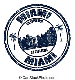 Miami stamp - Grunge rubber stamp with the name of Miami...