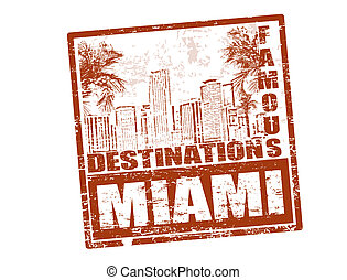Grunge rubber stamp with the text famous destinations Miami inside, vector illustration