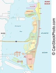 miami strand, administrativ, landkarte
