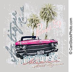Miami street runner vintage car - vintage car vector for...