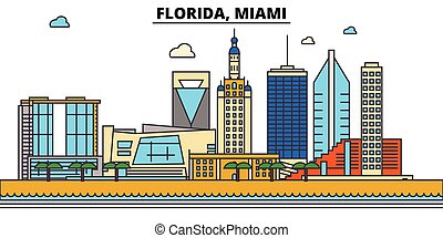 miami., strokes., silhouette, repères, bâtiments, skyline:, concept., paysage, vecteur, floride, ligne, plat, architecture, panorama, ville, editable, conception, rues, illustration, icons.