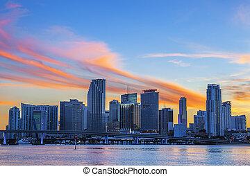 Miami sunset cloud - CIty of Miami Florida, summer sunset,...