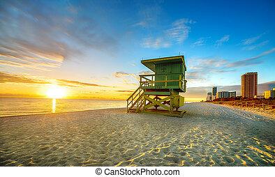 miami, sur, salida del sol, playa