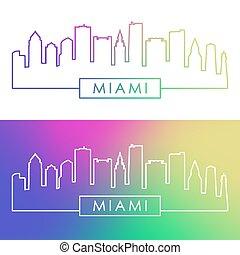 Miami, sylwetka na tle nieba, Linearny, barwny, styl