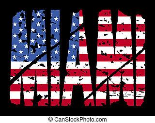 miami, texte, drapeau