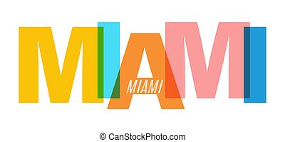 MIAMI. The name of the city on a white background. Vector design template for poster, postcard, banner
