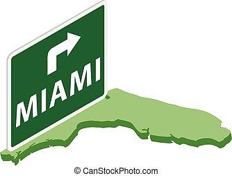 Miami trip icon, isometric style