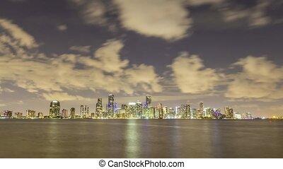 miami urban skyline at night florida united